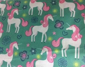 Pink fantasy unicorn fabric, white unicorn, fantasy, whimsical fabric, cotton fabric, fairytale fabric, pink unicorn