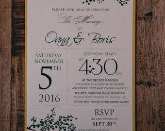 Cherry blossom wedding Invitations, Wedding Invitation, Invitations, Asian Invitation, Custom Wedding Invitations, Green and gold, orange