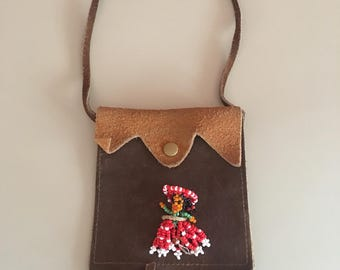 Vintage Souvenir Suede Toy Purse from Eagle River Wisconsin