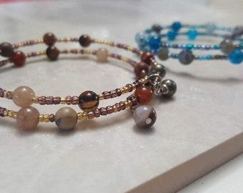 2/20 Bracelet : 2 Coil - Wrapped style - 20 crystal- memory wire bracelet