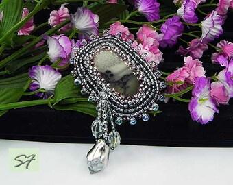 Silver beadwork brooch embroidered beads, landscape jasper, Statement Beaded brooch, original jewelry, Gem brooch, gift her mom wife