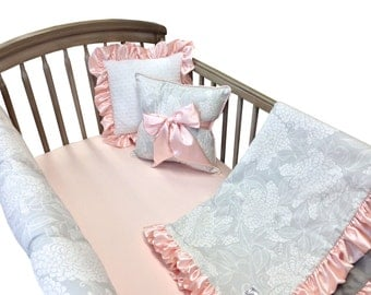 Hydrangea Crib Bedding with Rail Guard- 4 Piece Set- Gray Blush
