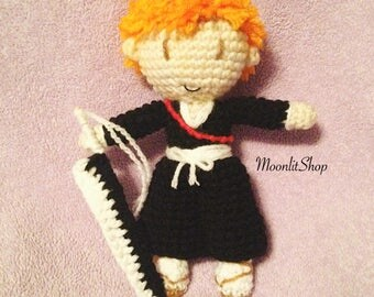 Bleach Inspired Crochet Ichigo Kurosaki Amigurumi Doll