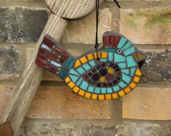 Colourful Mosaic Bird, Garden Mosaic Bird, Gift for Gardener, Mosaic Garden Ornament, Gift for Her, Garden Gift, Yard Art, Colourful Bird,
