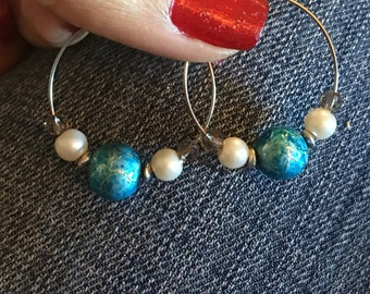 Blue and Silver Hoops