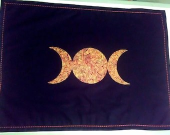 Triple Goddess Altar Cloth with Embroidered Border