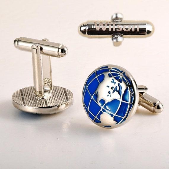 personalized cufflinks,Planet Earth Cufflinks.,World Cuff Links,Travel Cufflinks,Wanderlust Cufflinks,Gifts for Men ,Adventure Cufflinks