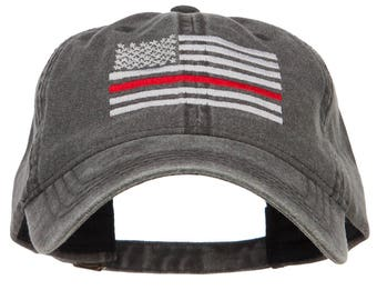Thin Red Line Silver USA Flag Embroidered Washed Cap