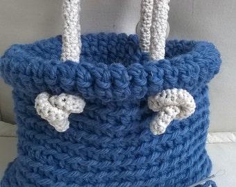 Handmade wool crocheted bag, crochet wool bag