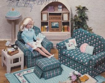 Fashion Doll Living Room, American School of Needlework Plastic Canvas Pattern Booklet 3085 CD Player Sofa Chairs Lamps Rug & More