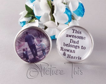 Custom Cufflinks, Personalised Father,s day Gift, Personalised Cufflinks, Gift for Dad, Photo Cufflinks, Birthday gift for dad/Grandpa.