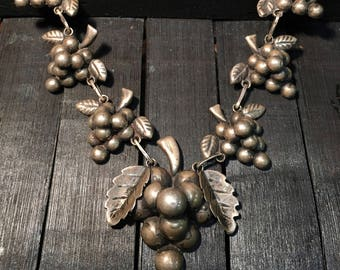Mexican Vintage  Sterling Silver Grape Cluster Necklace   #164