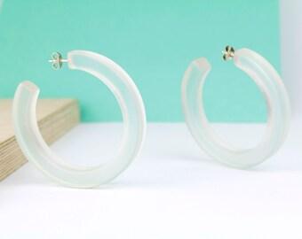 Transparent resin hoop earrings, resin earrings, resin and silver hoop earrings, resin jewelry, necklace therapy, gift for her, bold hoops