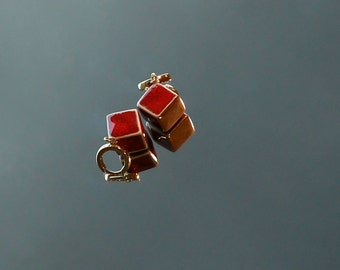 Handmade Cube Red Faience earrings - Ceramic Jewelry by Jolanta