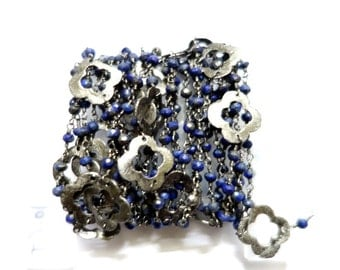 Five Feet Lapis Rondelle Beaded Chain, Connected With Black Plated Chain and Black Metal Flowers , Beaded Jewellery