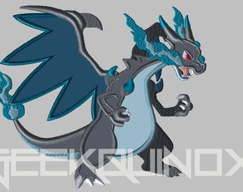 Mega Charizard X - Embroidery Applique - Digital Download - Silhouette Studio File Included