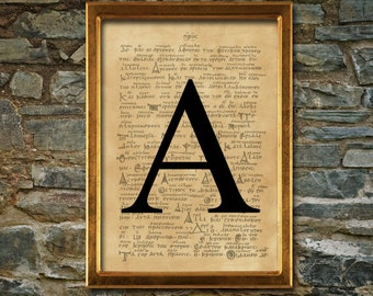 Alpha symbol print, aged poster, Aged wall decor, Occult print, Alchemy print, man poster, sorority print