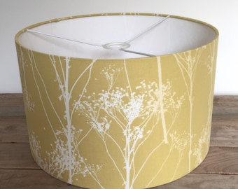 Mustard Yellow drum lampshade, Handmade 20cm, 30cm, 40cm