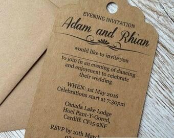Vintage tag wedding invitation sample