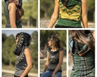 tribal t-shirt with back capucha.cuello, African, ethnic design. t-shirt are sleeves. Linen festival.boho, moderna.alternativas.