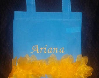 Blue and Yellow Flower Petal Girls Tote