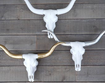 LONGHORN,Long Horn Skull, Silver,Gold,YOUR CHOICE,Boho,Fake Animal Head,Faux Taxidermy