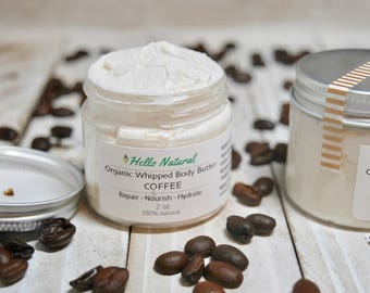 COFFEE Infused Body Butter, Organic Whipped Body Cream, Coffee Skin Souffle, Coffee Lovers Natural Body Lotion, Repairing Coffee Moisturizer