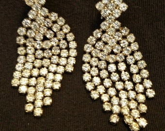 Vintage Rhinestone Clip Earrings / FREE SHIPPING within U.S.