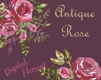 Watercolor Floral, Digital Watercolor Clip-art, Shabby Watercolor Clipart, Shabby Chic Roses, Vintage Rose Scrapbook. No. WC.18
