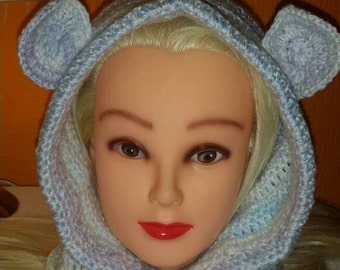 Child hopdie, chooded cowl, cowl with hood, hooded cowl with ears