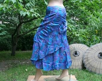 Wrapskirt Flamenco Skirt long wide freesize Psy Goa Hippie Gipsy Festival turquoise blue silk sari saree dance