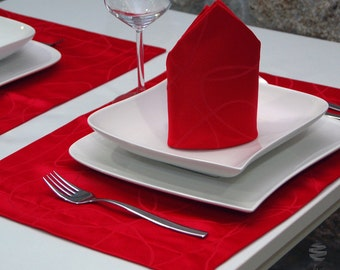 Luxury Red Table Placemat - Anti Stain Proof Resistant - Pack of 2 units - Ref. Lines