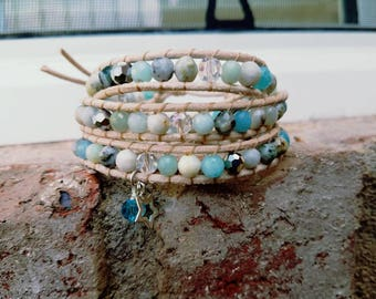 Bracelet, boho, leather,  gemstone bracelet, Sterling silver, soft blues, summer colors, natural color leather, aquamarine,  jade,