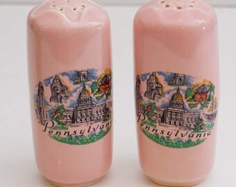 Vintage Philadelpia Pennsylvania Pink Souvenir Ceramic Salt and Pepper Shakers