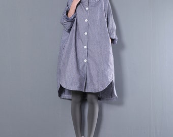 Women cotton loose long-sleeved striped hooded shirt dress