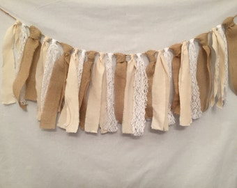 Rustic Garland/Burlap Fabric Garland/Rustic Wedding Decor/Fabric Garland/Burlap Garland/Country Wedding Decor/Lace and Burlap Garland