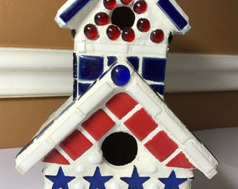 Mosaic birdhouse red white blue USA