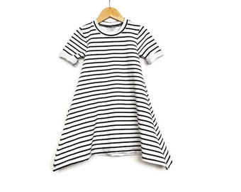 Stripe Baby Dress, Toddler Dress, Stylish Kids dress, Baby girl clothing, Black baby dresses