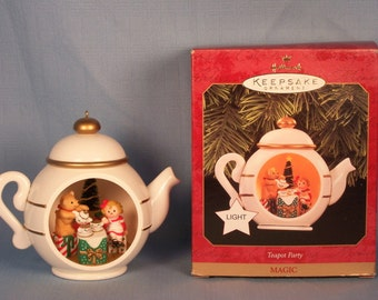 Teapot party ragdoll and teddy magic hallmark ornament mib