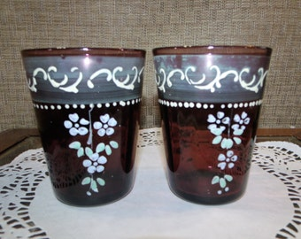 2 Victorian Amethyst Glass Tumblers Enameled Flowers ~ Gorgeous Antique Purple Glass Painted in Floral Sprays ~ Gorgeous!