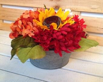 Sunflower and Hydrangea Fall Floral, Fall Arrangement, Rustic Arrangement, Thanksgiving Arrangement, Fall Centerpiece