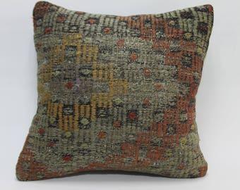 16x16 kilim turkish cushion cover turkish rug pillow bohemian throw pillow 40 x 40 cm bohemian pillows 16x16 rectangular pillows 2553