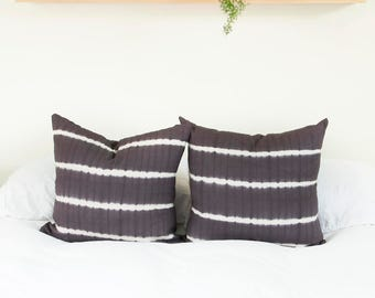 Warm Grey Tie Dye Stripe Pillow Cover | Various Sizes