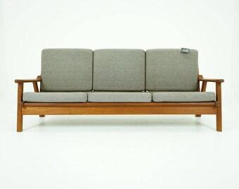 308-005 Danish Mid Century Modern Teak Sofa Couch Wood Frame Fabric