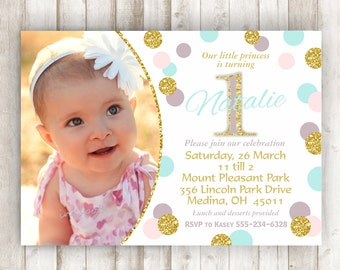 Pink And Gold St Birthday Invitation First Birthday - First birthday invitations girl pink and gold