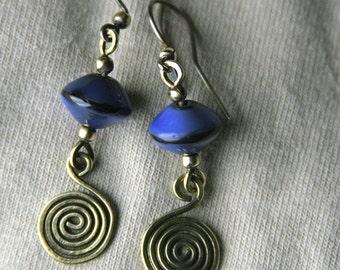 Celtic Spiral Sky Boho Ceramic & Brass Earrings