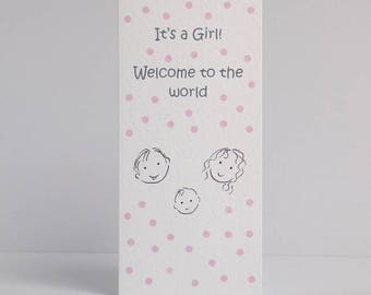 Baby girl card, new baby card