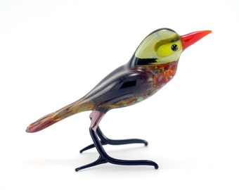 Glass Bird Oatmeal.Art Murano Glass Bird.Great Bird Gift.Glass Birds.Fused Glass.Bird Ornament.Lampwork Glass Bird.Glass Bird Decor(l23)