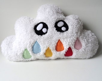 White kawaii cloud plush Sheepskin pillow drops Rainbow