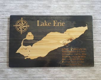 Lake Erie, Wooden Sign, Lake Erie facts, Great lakes wood sign, Put-in-Bay, Great Lakes, Rustic wood sign, Michigan, Home Decor, Lake house